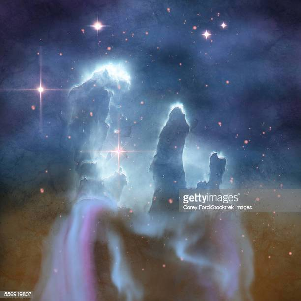 pillars of creation are part of the eagle nebula and are made of interstellar dust and gases. - nebula stock illustrations