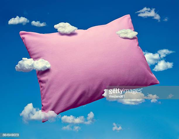 pillow and clouds, dreaming and sleep - sleeping stock illustrations