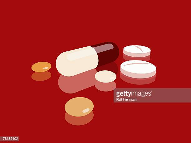 pills, capsules and tablets - medicine stock illustrations
