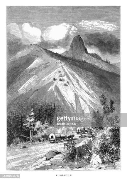 Pilot Knob, Sierra Nevada Mountains, Northern California, United States, American Victorian Engraving, 1872