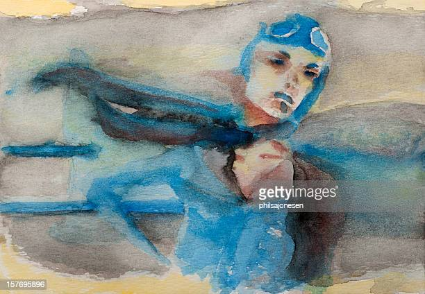 pilot woman painting - heroes stock illustrations