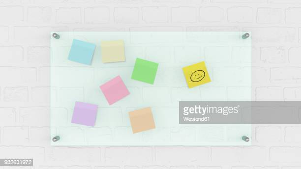 Pinboard with smiley face on memo, 3d rendering