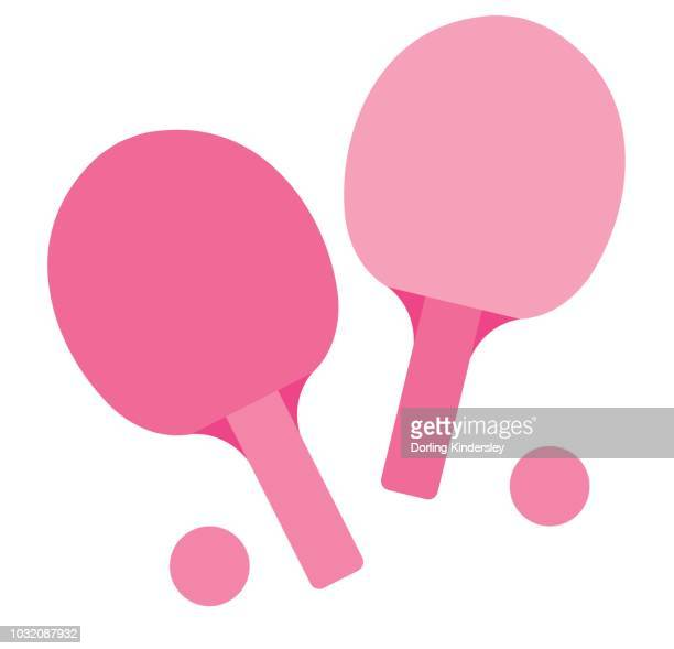 ping pong rackets and balls - table tennis racket stock illustrations