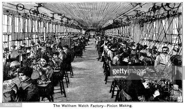 ウォルサム・ウォッチ・ファクトリーでのピニオン製作 - 19世紀風点のイラスト素材/クリップアート素材/マンガ素材/アイコン素材