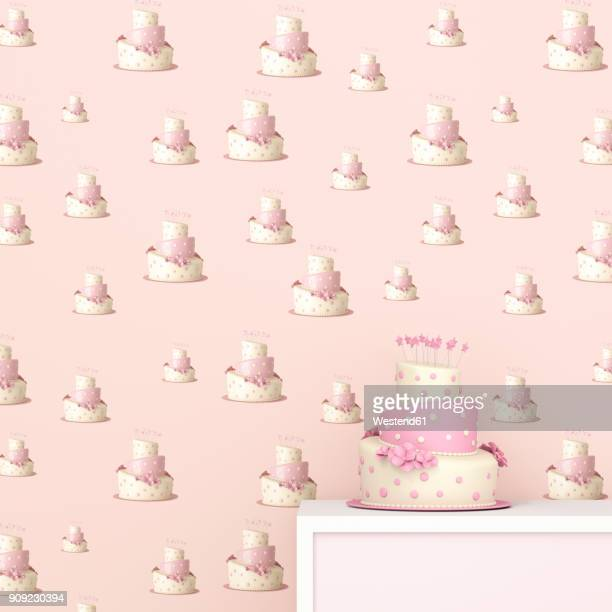 pink and white birthday cake in front of wallpaper with fancy cake pattern, 3d rendering - cake stock illustrations