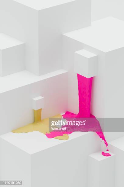 pink and yellow paint flowing on abstract 3d angular shapes - built structure stock illustrations
