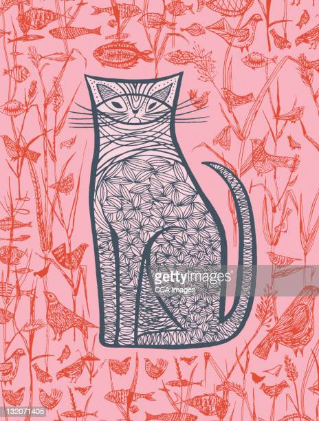 pink cat; fish; birds - cat food stock illustrations