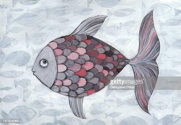 ilustraciones, imágenes clip art, dibujos animados e iconos de stock de pink fish - grupo grande de animales