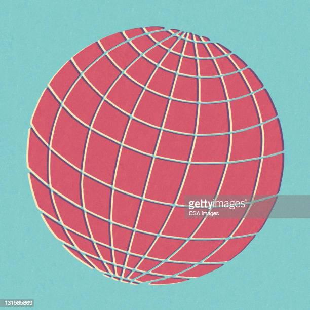 illustrations, cliparts, dessins animés et icônes de pink globe on blue background - hémisphère