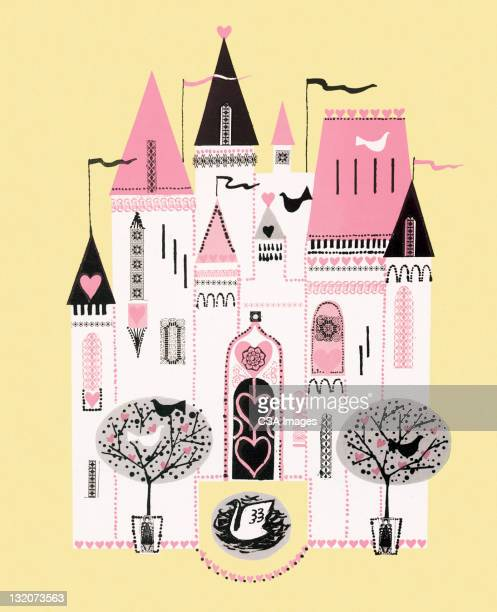 pink heart castle - spire stock illustrations, clip art, cartoons, & icons