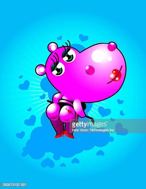 ilustraciones, imágenes clip art, dibujos animados e iconos de stock de pink hippopotamus wearing thong underwear, holding whip, rear view - tanga