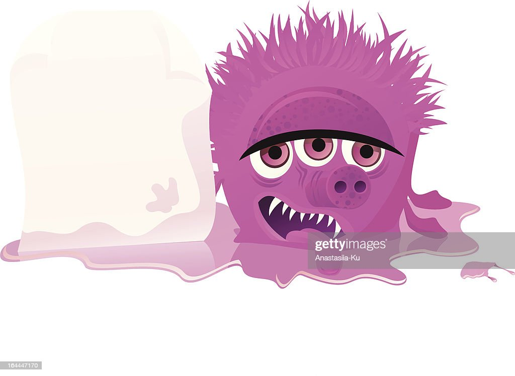 pink monster holding blank paper