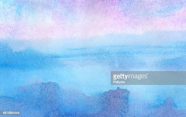 Pink morning - watercolor background