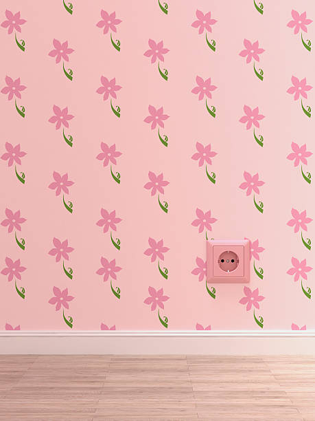 pink socket on pink wallpaper with floral design, 3d rendering - femininity stock illustrations