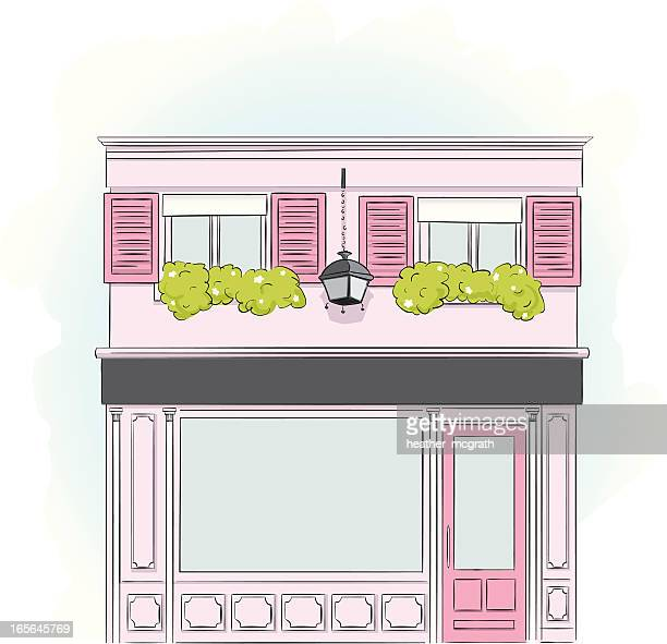pink storefront - boutique stock illustrations, clip art, cartoons, & icons