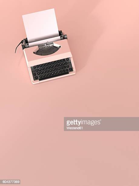 pink typewriter with empty sheet of paper on pink ground, 3d rendering - the past stock illustrations