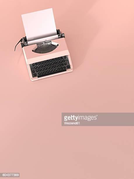 pink typewriter with empty sheet of paper on pink ground, 3d rendering - タイプライター点のイラスト素材/クリップアート素材/マンガ素材/アイコン素材