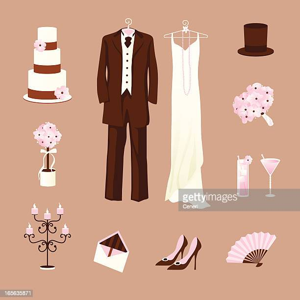 Rosa vintage Hochzeit Symbole