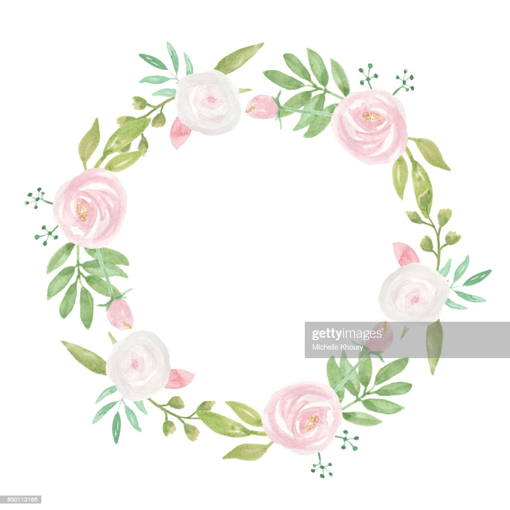 Pink White Wedding Flowers Hand Painted Wreath Stock Illustration