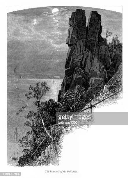 pinnacle of the palisades, hudson river, new york, victorian engraving, 1875 - spire stock illustrations, clip art, cartoons, & icons