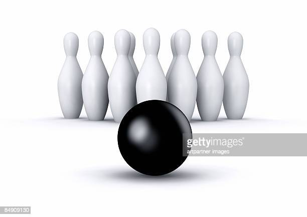 9 pins and a bowling ball - sports target stock illustrations