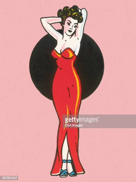 pinup girl - hourglass stock illustrations
