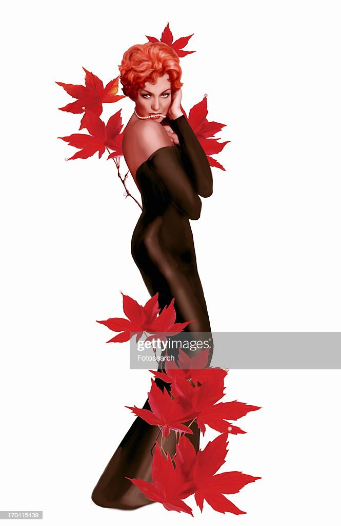 Pinup Girl In Black Dress With Red Leaves Stock Illustration Getty
