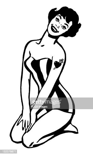 pinup with heart and dagger tattoo - swimwear stock illustrations, clip art, cartoons, & icons