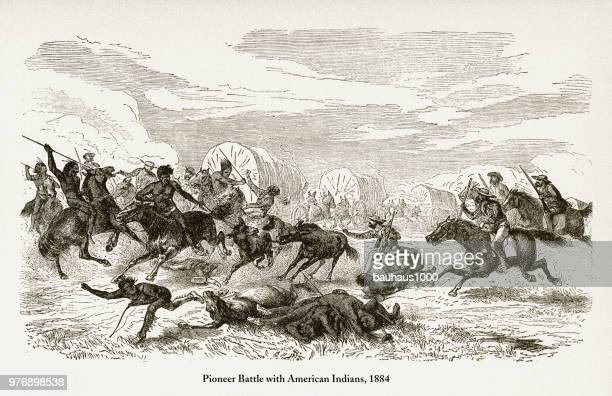 Pioneer Battle with American Indians, Early American Victorian Engraving, 1884
