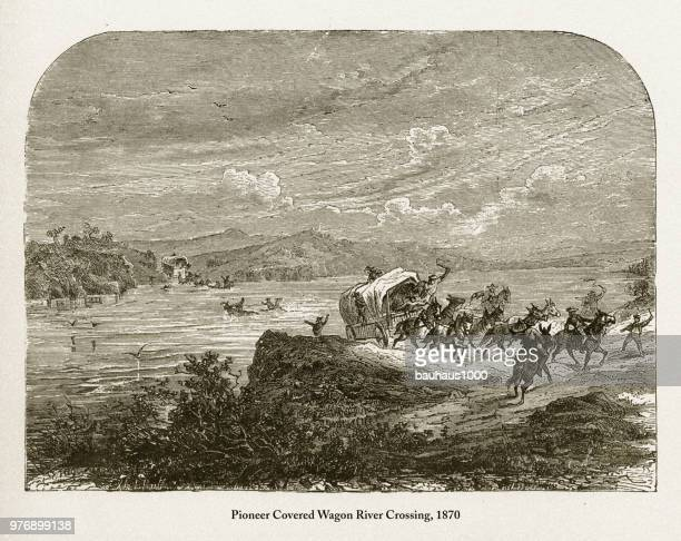 Pioneer Covered Wagon River Crossing, Early American Victorian Engraving, 1870