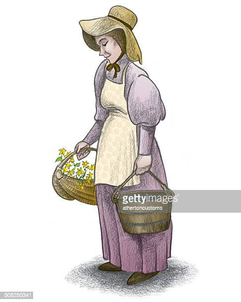pioneer woman - prairie stock illustrations, clip art, cartoons, & icons