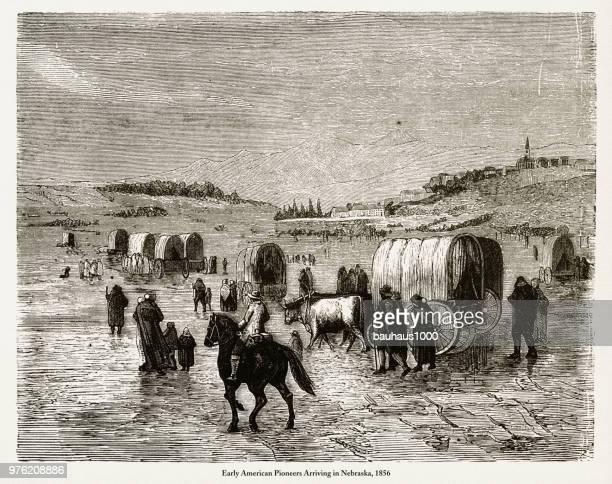 Pioneers Arriving in Nebraska, Early American Victorian Engraving, 1856