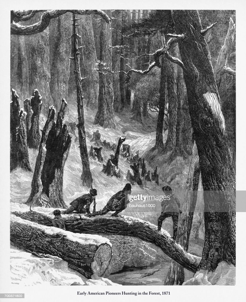 Pioneers Hunting in the Forest, Early American Victorian Engraving, 1871 : stock illustration