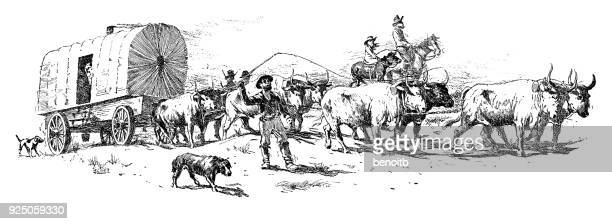 pioneers on a trail - prairie stock illustrations, clip art, cartoons, & icons