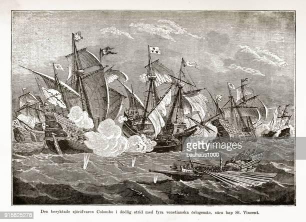 illustrations, cliparts, dessins animés et icônes de pirate colombo au lutte contre la contre les vénitiens gravures, datant du xve siècle - se disputer