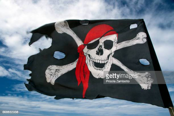 pirate flag - low angle view stock illustrations