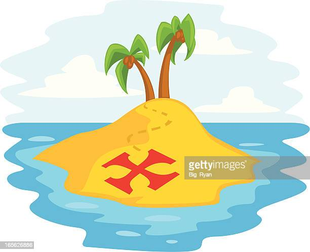 pirate island - x marks the spot stock illustrations