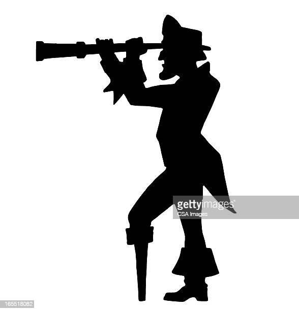 illustrazioni stock, clip art, cartoni animati e icone di tendenza di pirate looking through a telescope - adulto
