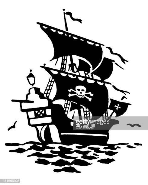 pirate ship - 海賊旗点のイラスト素材/クリップアート素材/マンガ素材/アイコン素材