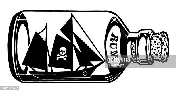pirate ship inside a bottle - rum stock illustrations, clip art, cartoons, & icons