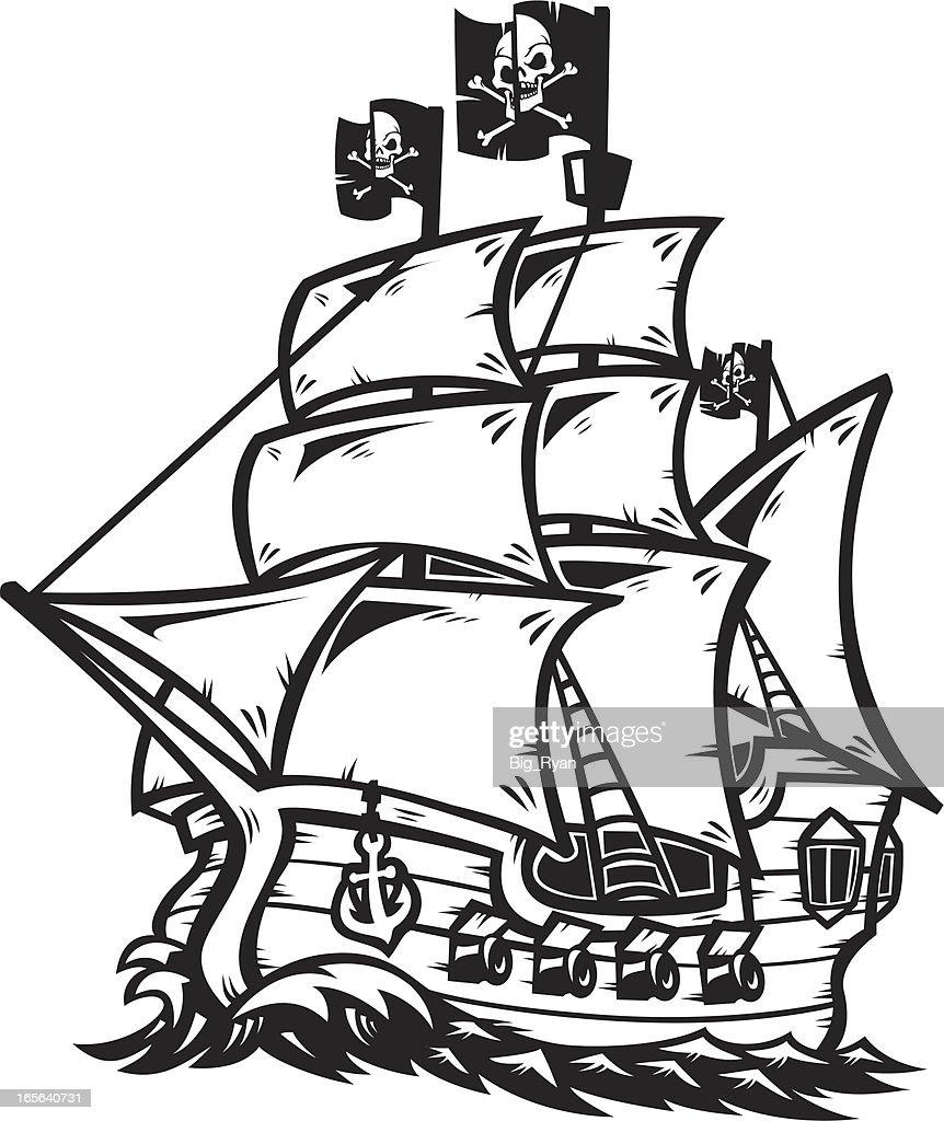 pirate ship outline : stock illustration