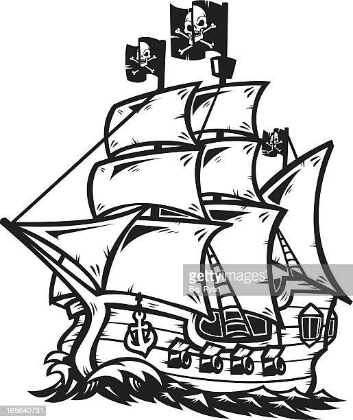 pirate ship outline - brigantine stock illustrations, clip art, cartoons, & icons