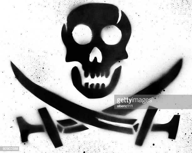 pirate skull stencil - stencil stock illustrations