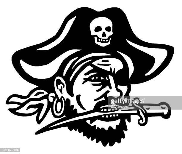 Pirate With Knife in His Mouth
