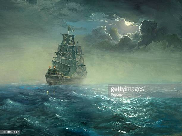 pirates - seascape stock illustrations