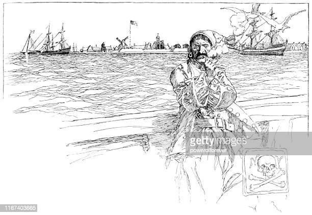 pirates in new york city, new york, united states - 17th century - pirate criminal stock illustrations