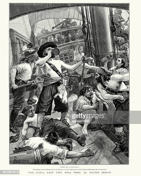 pirates looting a ship they have captured - pirate criminal stock illustrations