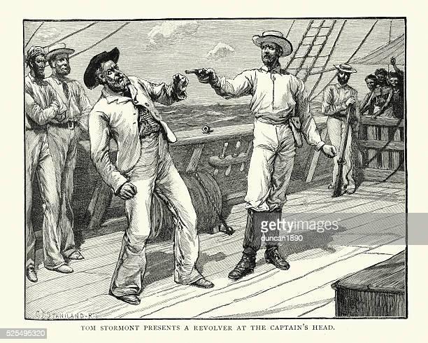 Pirates - Ships Captain held at gunpoint, 19th Century