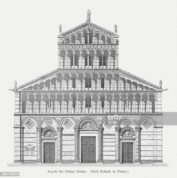 Pisa Cathedral, wood engraving, published 1884