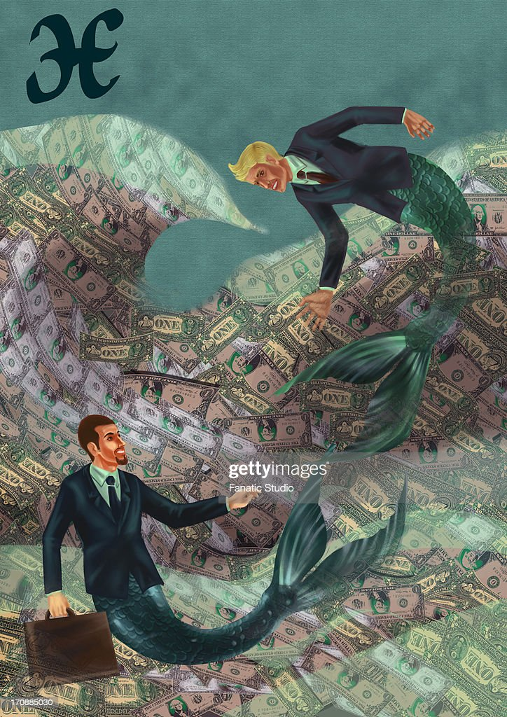 Pisces businessmen in the sea of wealth : stock illustration